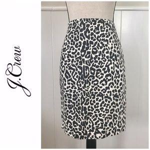 J.Crew Basketweave Leopard Print Skirt